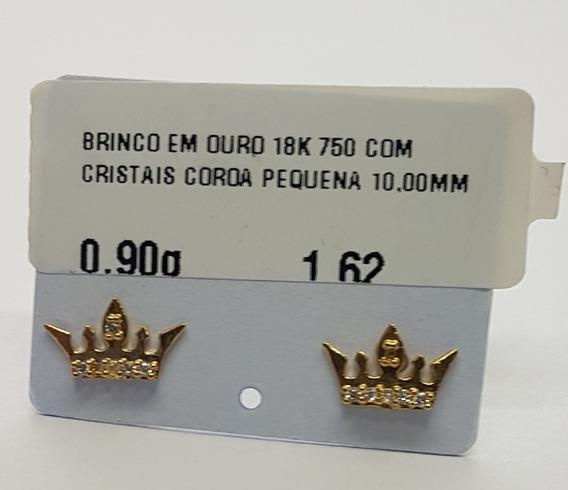Brinco Em Ouro 18k 750 Com Cristais Coroa Pequena 0,90g