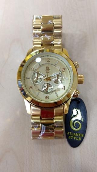 Relógio Original Atlantis Dourado Mk Feminino Nota E Caixa