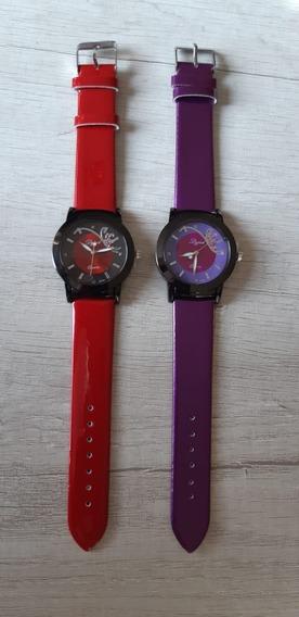 2 X Relógio Feminino Dg Couro Pu Vermelho, Roxo Luxo