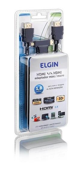 Cabo Hdmi Elgin Com Adaptador Mini X Micro 1.8m V1.4