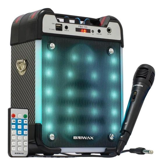 Caixa De Som Amplificada 25w Bluetooth Portátil Karaokê Fm