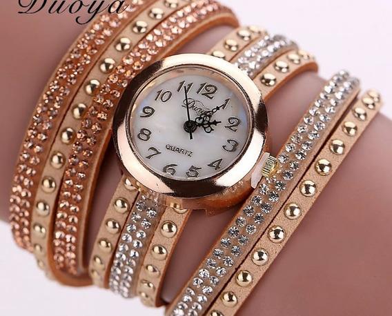 Relógio Feminino Bracelete Dourado Na Caixa Para Presente