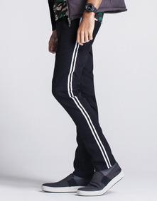 Calça Masculina Sarja Black Com Faixa