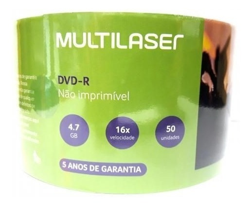 100 Un Dvd-r Multilaser 4,7 Gb 16 X Logo Promoção Atacado
