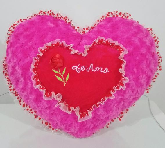 Coração Pelúcia Almofada Flor