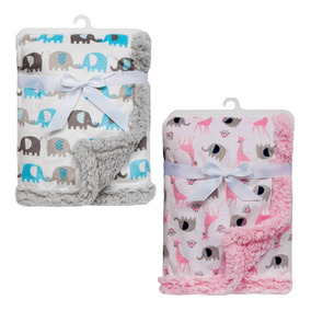 Manta Bebe Cobertor Menino Soft Apeluciada Elefante Azul