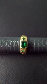 Anel Formatura Pedra Verde Banhado A Ouro 18k Frete Gratis