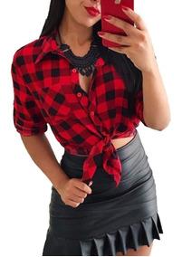Camisa Xadrez Feminina Em Viscose Blusa Inverno Vem Nf
