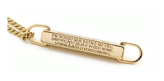 Cordão Colar Pai Nosso Aço Inoxidável Banhado Ouro 18 K