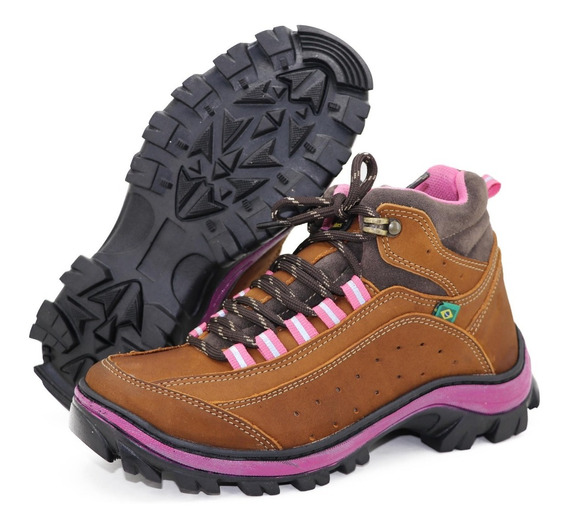 Coturno Adventure Feminino Boot Em Couro Para Trilha Camping