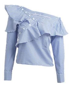 Manga Longo Colarinho Oblíquo Camisa Listrado Mola Mulheres