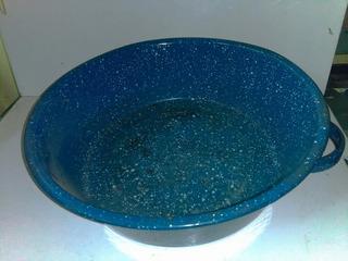 Olla Tipo Paila Azul Vintage Usada