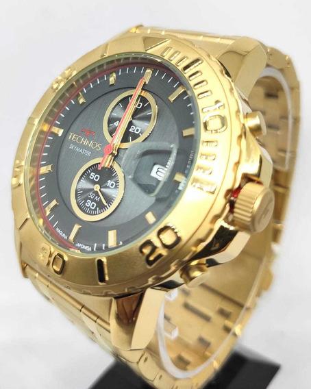 Relógio Technos Masculino Dourado Skymaster Os11ed/4p