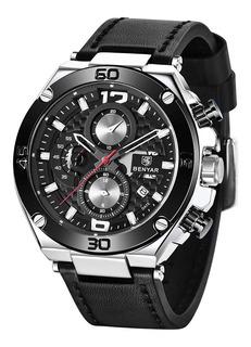 Reloj Benyar 5151 Pnn Deportivo Cuero Cronografo Fecha Caja
