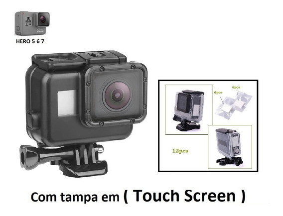 Caixa Estanque Gopro Tampa Touch Screen Gopro 5 6 7 Black Br