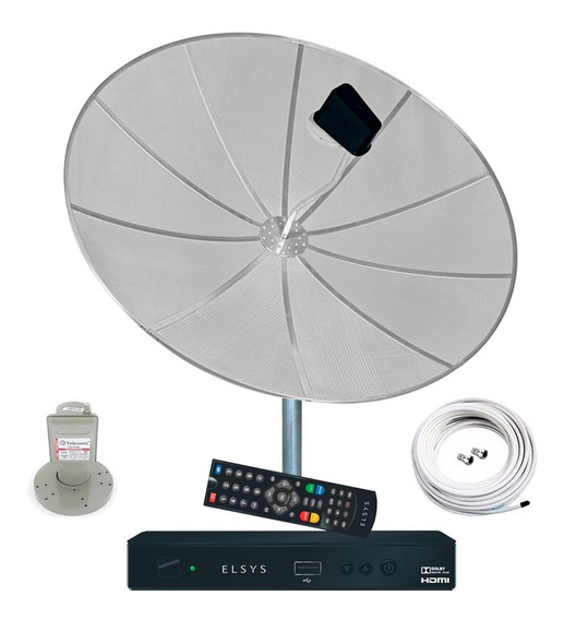 Antena Parabólica 190cm Completa Receptor Elsys Duomax Hd