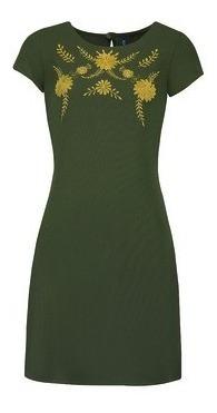 Vestido Verde De Lino Con Flores Amarillas Rinna Bruni