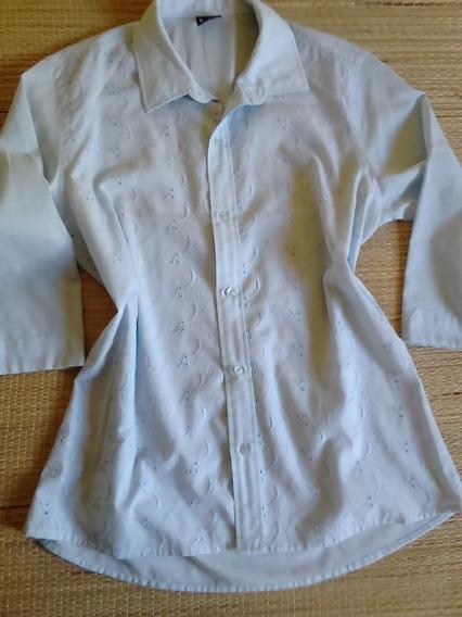 Camisa Feminina Azul Em Lasie