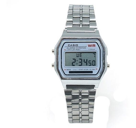 Relógio Digital Prata Pulseira De Aço Inox Importado