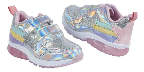 Zapato Tenis Niña Multicolor Diseño Tornasol Y Glitter Con C
