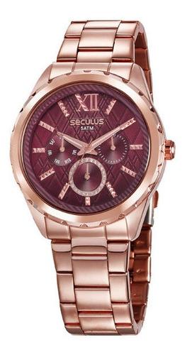 Relógio Seculus Feminino Rosê Gold Multifunção 35004lpsvrs1
