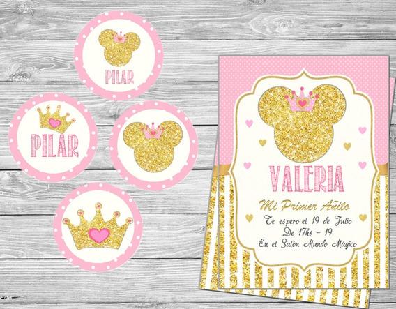Kit Imprimible Minnie Dorado Corona Princesa Editable