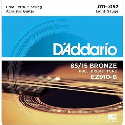 Jogo D'addario Violão Bronze 85/15 Ez910-b C/corda (e) Extra