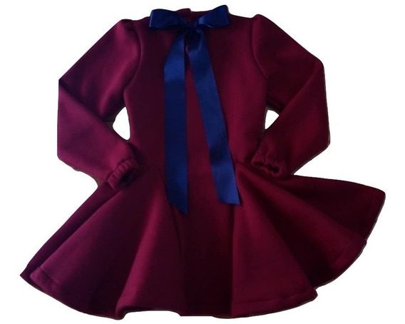 Vestido De Nena De Invierno Mangas Largas Del Talle 2 Al 14