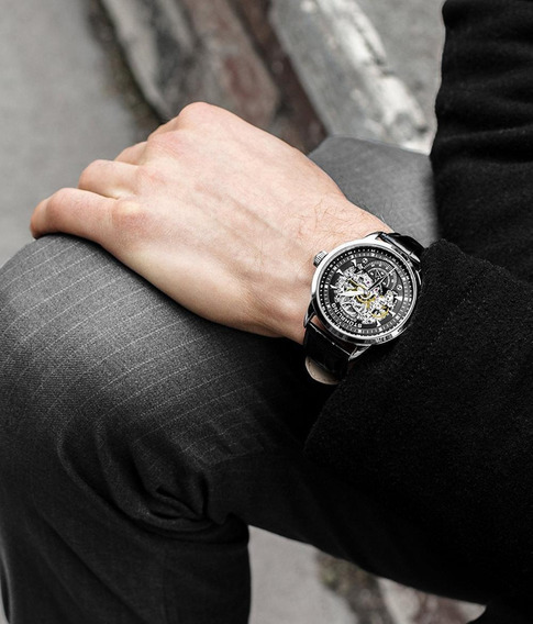 Reloj Stuhrling Esqueleto, Elegante, Diseño Unico, Hombre