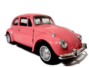 Fusca Rosa Miniatura De Ferro 1/32 13cm Para Colecionador