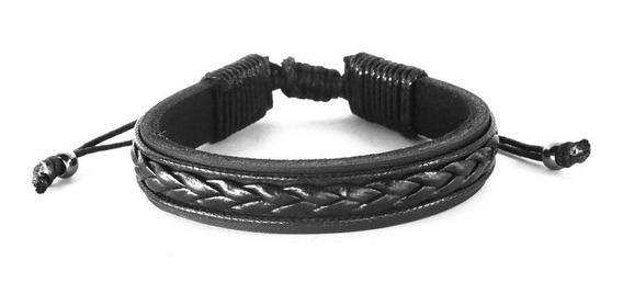 Pulseira Masculina Bracelete Couro Com Ajuste - Alencar