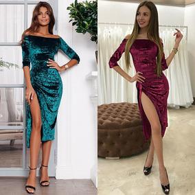 Mujeres Vestido Sólido Color Terciopelo Apagado Hombro Mita