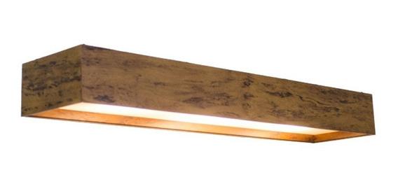 Luminária Plafon Retangular Madeira