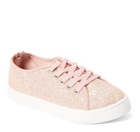 Zapatos De Dama Rosado Escarchado Talla 38