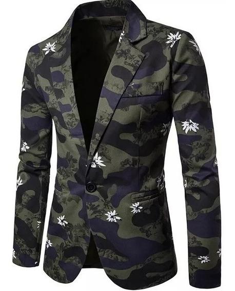 Moda Europea / Blazer Camuflado Militar Moda Masculina Saco