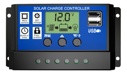 Controlador De Panel Solar 30a Hd Lcd De Carga De Batería Re