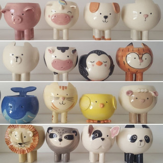 Set X 2 Macetas Ceramicas Animales