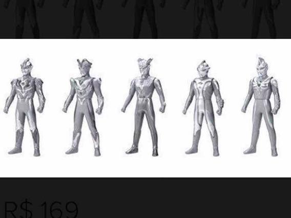 Ultraman Set 2 Especial Prata 50anos Contem 5 Bonecos