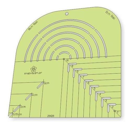 Imagem 1 de 5 de Régua Gabarito Curva Quadrado Caixa Leite Canto Mitrado 20cm