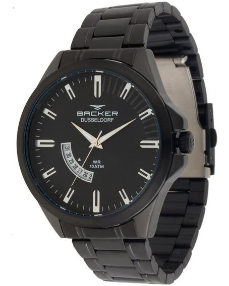 Relógio Backer Masculino Ref: 6110275m Pr Casual Black Aço