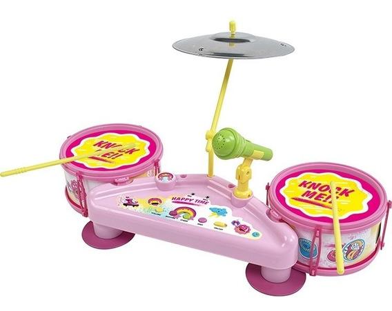Bateria Infantil Eletronica Com Efeito Musicais Karaoke Rosa
