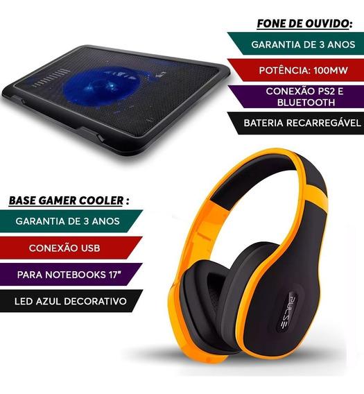 Fone Ouvido Bluetooth Amarelo + Base Gamer Notebook Led