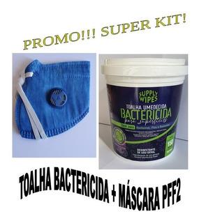 Kit: 2x Baldes Toalha Bactericida + 1 Máscara Valvulada Pff2