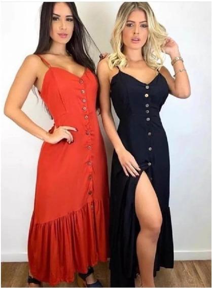 Vestido Longo Botão Babado Moda Feminina Verão 2020