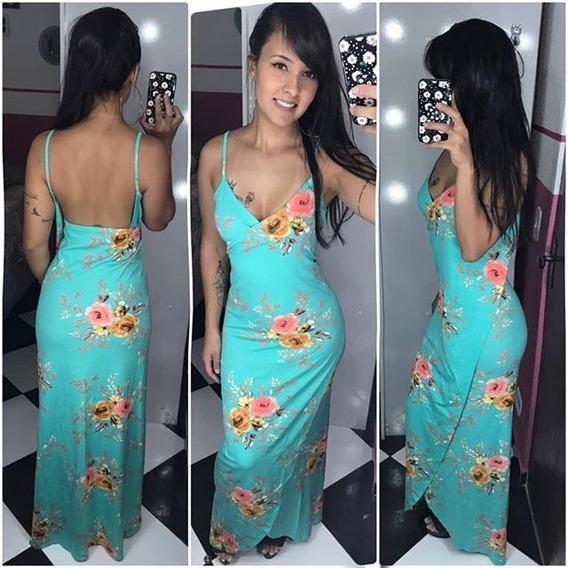 Vestido Feminino Longo Envelope Estampado Regata Alcinha