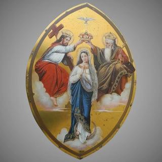 Antigua Pintura Ascenso Coronación Virgen María Placa Cobre