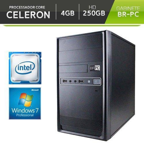 Computador Br-pc Intel Celeron 4gb Hd 250gb Windows 7 Pro