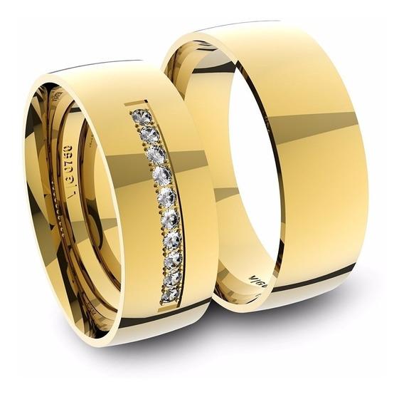 Alianças De Ouro 18k Anatômica Com Diamantes (7.0mm Largura)