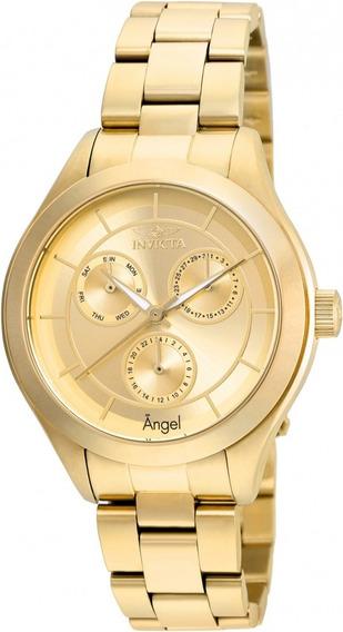 Relógio Feminino Invicta Angel 21694 Plaque Ouro Calendário