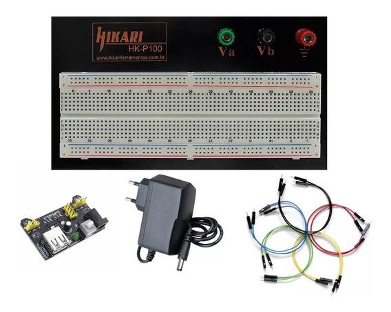 Kit Fonte 12v Protoboard 830 Regulador 3.3v Jumper Arduino